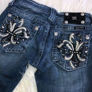 Miss Me Black White Fleur de lis Rhinestone Jeans